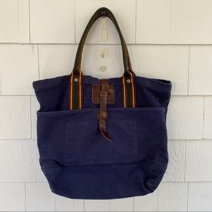 Ralph Lauren Rugby Navy Blue Canvas Tote Bag